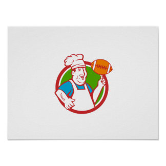 Fat Chef Cook Twirling Football Circle Retro Poster
