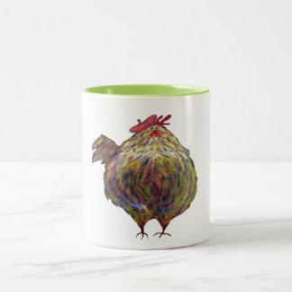 Fat Chicken Wearing a Beret Two-Tone Coffee Mug