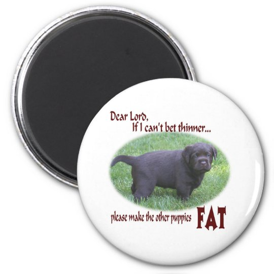 Fat Chocolate Lab Puppy Humor Magnet