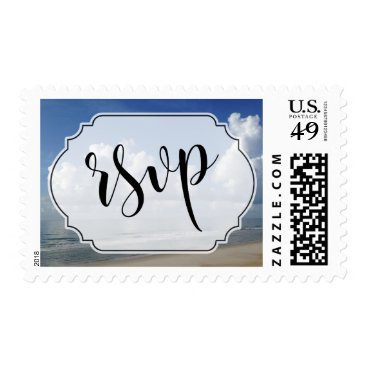 Beach Themed Fat Clouds Over Beach Photo w/ Badge RSVP Postage
