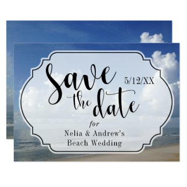 Beach Themed Fat Clouds Over Beach Photo w/ Badge Save the Date Card