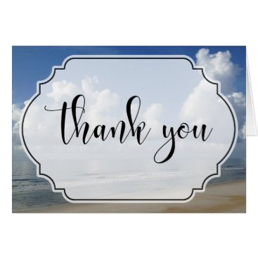 Beach Themed Fat Clouds Over Beach Photo w/ Badge Thank You Card