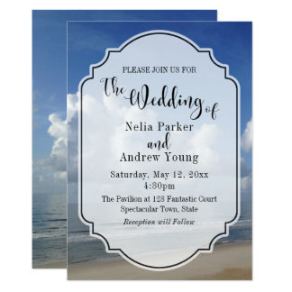 Fat Clouds Over Beach Photo w/ Badge Wedding 2 Card