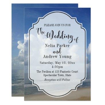 Beach Themed Fat Clouds Over Beach Photo w/ Badge Wedding 2 Card