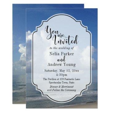 Beach Themed Fat Clouds Over Beach Photo w/ Badge Wedding 3 Card