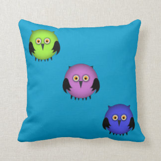 Fat Colorful Owls Kids Throw Pillow