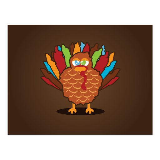 Fat Cute Turkey Postcard