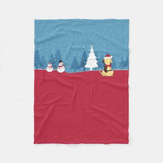 Fat Dog Christmas blanket scene