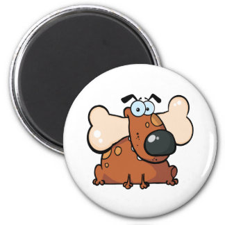 Fat Dog With Big Bone In Mouth 2 Inch Round Magnet