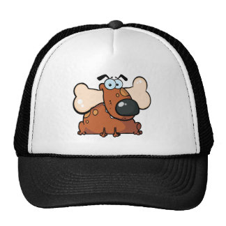 Fat Dog With Big Bone In Mouth Hats