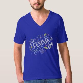 Fat Femme and Fab Unisex Blue V-Neck T-Shirt