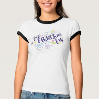 Fat Fierce and Fab Fitted Tee with Navy Trim