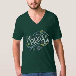 Fat Fierce and Fab Unisex Forest Green V-Neck Tee