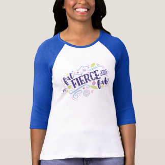 Fat Fierce & Fab Fitted 3/4 Sleeve with Navy Trim T-Shirt