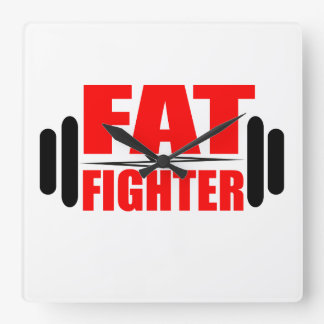 Fat Fighter Square Wall Clock