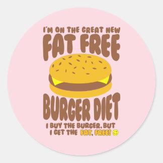 Fat Free Burger Diet Classic Round Sticker