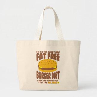 Fat Free Burger Diet Large Tote Bag