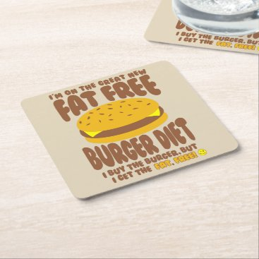 Fat Free Burger Diet Square Paper Coaster
