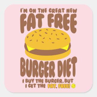 Fat Free Burger Diet Square Sticker
