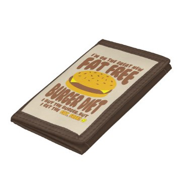 Beach Themed Fat Free Burger Diet Tri-fold Wallets