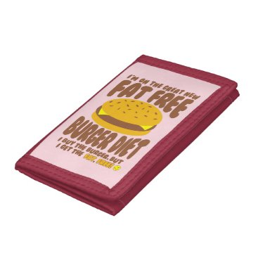 Beach Themed Fat Free Burger Diet Trifold Wallets
