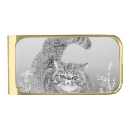 Fat Fuzzy Cat Gold Finish Money Clip