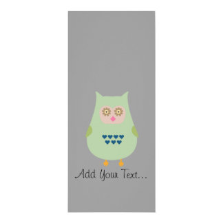 Fat green owl 4x9.25 paper invitation card