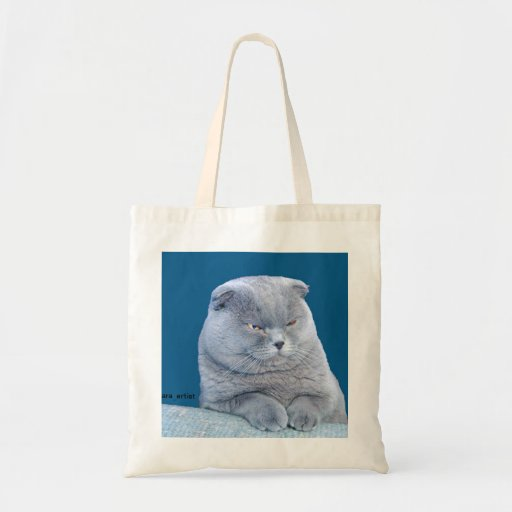 FAT GREY CAT CARRYING TOTE BAG BY aRA aRTIST Canvas Bags