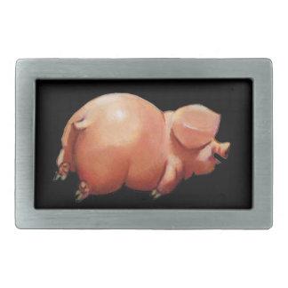 Fat, Happy, Little Pig: Original Illustration Belt Buckle