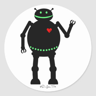 Fat Happy Robot Classic Round Sticker