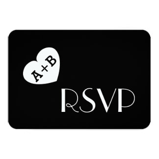 Fat Heart Initials Wedding RSVP Simple Style V01 Card