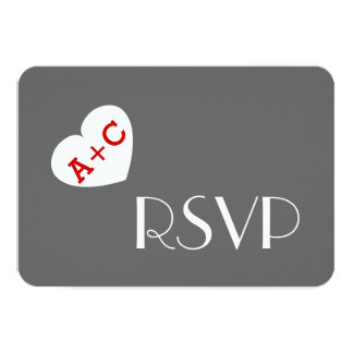 Fat Heart Initials Wedding RSVP Simple Style V02 Card