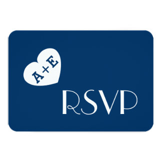 Fat Heart Initials Wedding RSVP Simple Style V04 Card