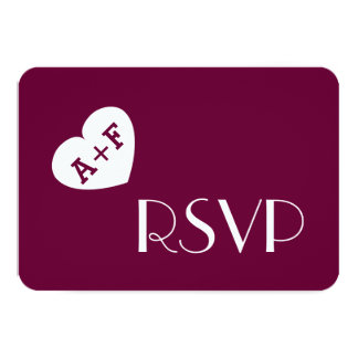 Fat Heart Initials Wedding RSVP Simple Style V05 Card
