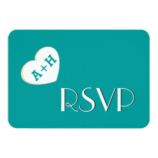 Fat Heart Initials Wedding RSVP Simple Style V08 Card