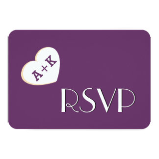 Fat Heart Initials Wedding RSVP Simple Style V09 Card