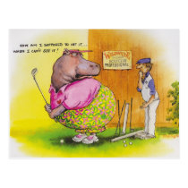 fat hippo golf postcard