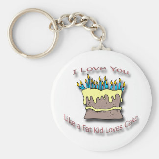 Fat Kid Loves Cake candles Basic Round Button Keychain