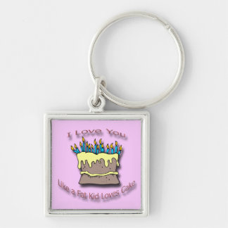 Fat Kid Loves Cake candles Silver-Colored Square Keychain