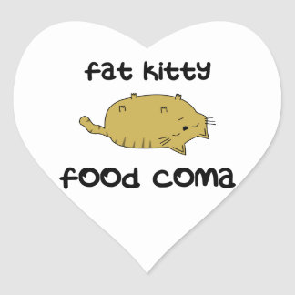 Fat Kitty Food Coma Heart Sticker