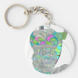 Fat Lady With A Fan Basic Round Button Keychain
