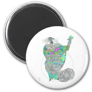 Fat Lady With A Fan 2 Inch Round Magnet