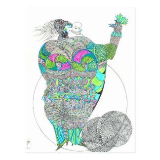 Fat Lady With A Fan Postcard