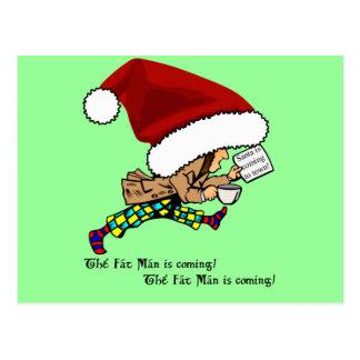 Fat Man (Santa) is Coming! Postcard