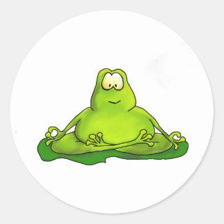 Fat meditating frog classic round sticker