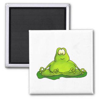 Fat meditating frog 2 inch square magnet