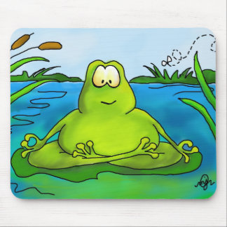 Fat Meditating Frog Mouse Pad