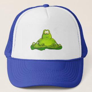 Fat meditating frog trucker hat