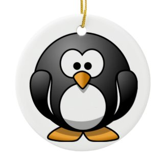 Fat Penguin Cartoon Ornament ornament