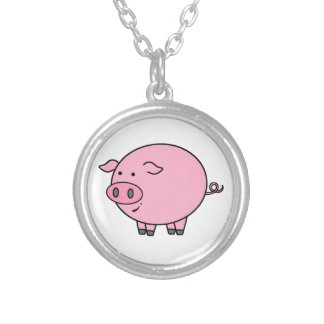 Fat Pig Cartoon Silver Plated Necklace